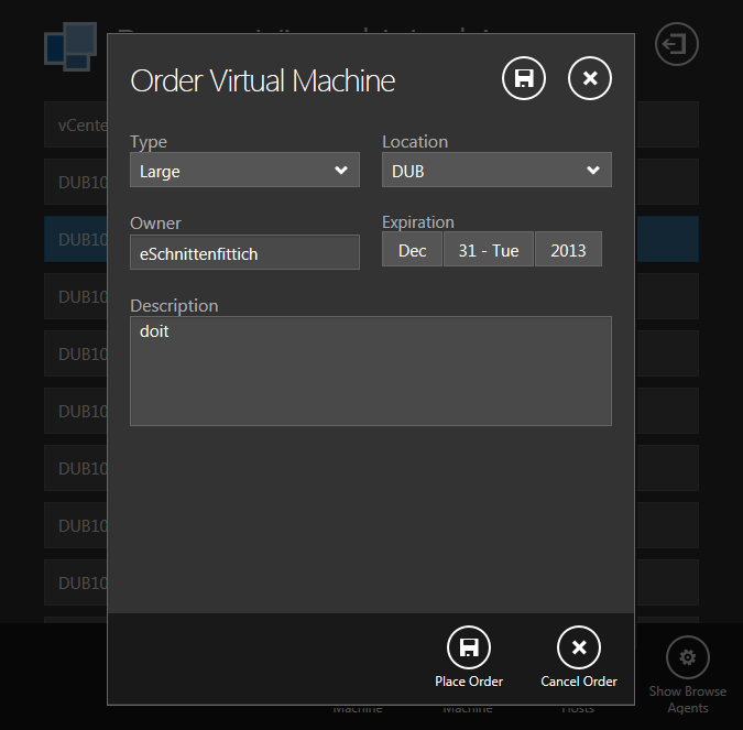 Order Virtual Machine