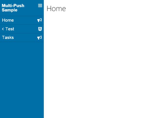 The LightSwitch push menu