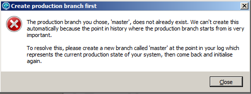 Error message if no master branch exists