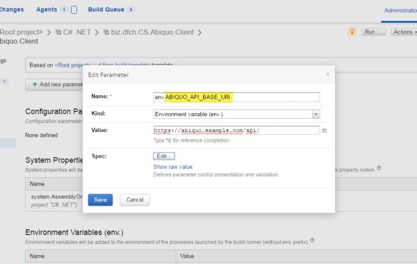 TeamCitiy Build Configuraiion Environment Variables
