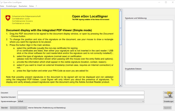 Screenshot - Sign PDF with Open eGov LocalSigner