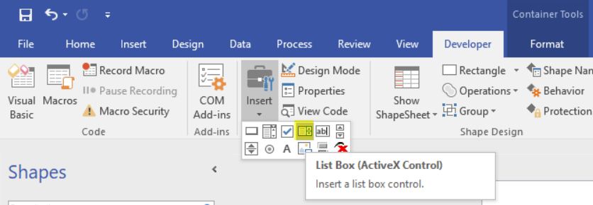 HOWTO] Add ListBox to Visio Sheet and access it in Visual Basic – d
